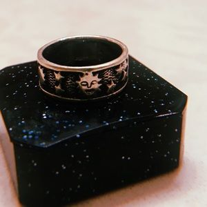 Sterling silver, galaxy, moon & stars ring